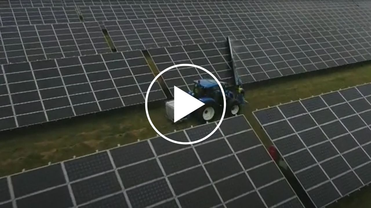 Solar panel cleaning tractor with specially designed brush fitting. German manufactured.